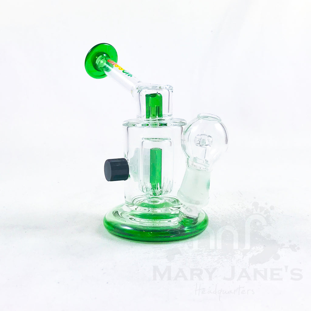 "Cheech Glass 4"" Tall Mini Slit Oil Rig w/ Drain"