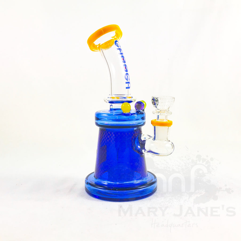 "Cheech Glass 8"" Blue Etched Rig"
