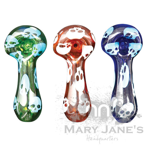 Picture of Red Eye Glass Skulls Hand Pipe