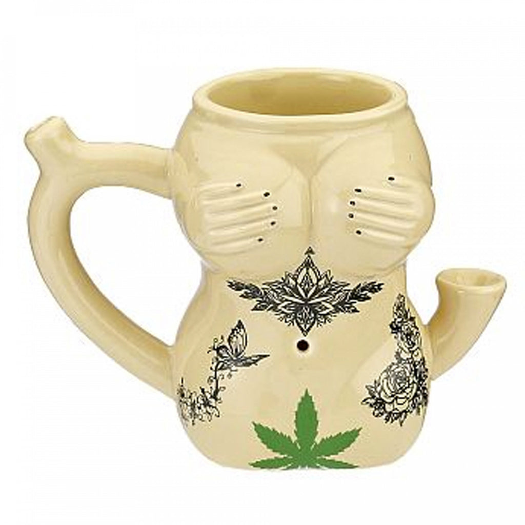 Tattoo Girl Ceramic Mug Pipe