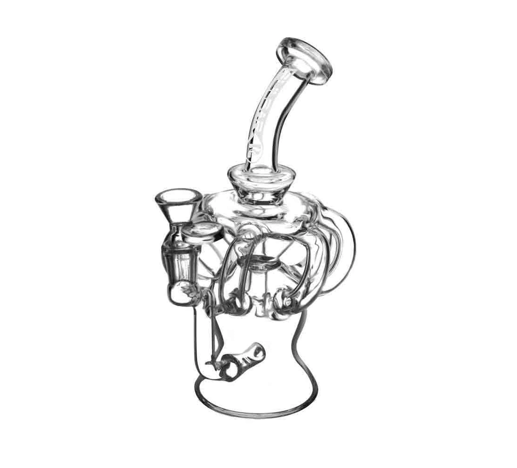 "Pulsar Glass 8.25"" Tall 7-Line Recycler Dab Rig with Inline Perc"