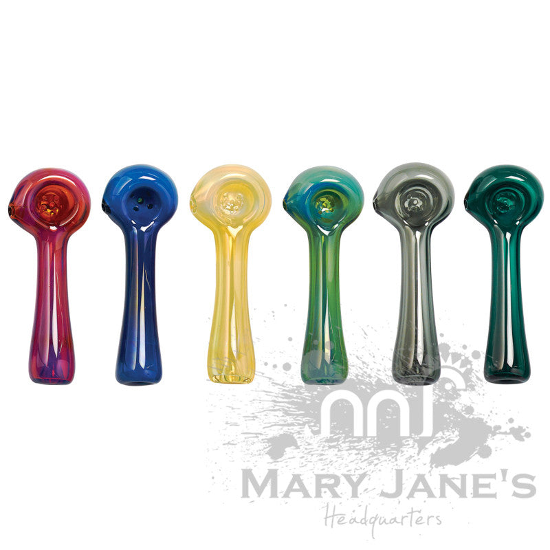 Red Eye Glass Solid Colour Glass Hand Pipe w/ Built-In Ashcatcher & Screen - Mary Jane's Headquarters