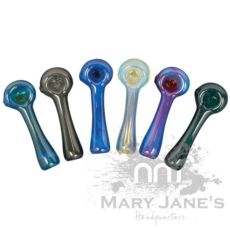 Red Eye Glass Solid Colour Glass Hand Pipe w/ Built-in Ash Catcher - Mary Jane's Headquarters