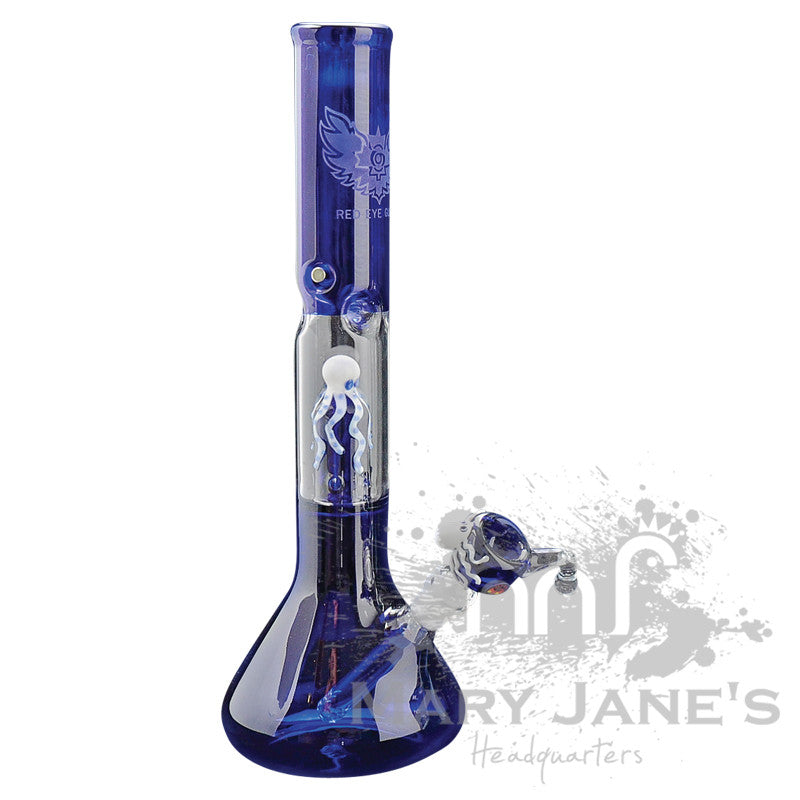 "Red Eye Glass 17"" Tall Octopus Beaker Bong Tube w/ Showerhead Perc - Blue"