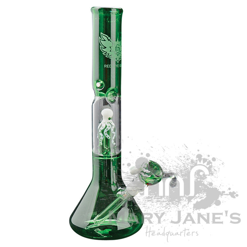 "Red Eye Glass 17"" Tall Octopus Beaker Bong Tube w/ Showerhead Perc - Green"