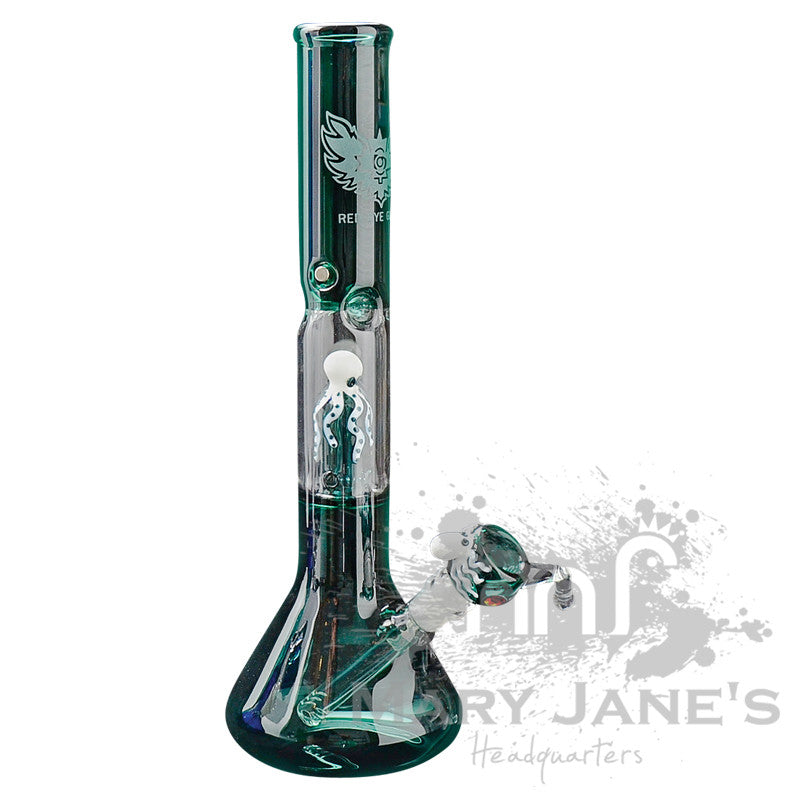 "Red Eye Glass 17"" Tall Octopus Beaker Bong Tube w/ Showerhead Perc - Teal"