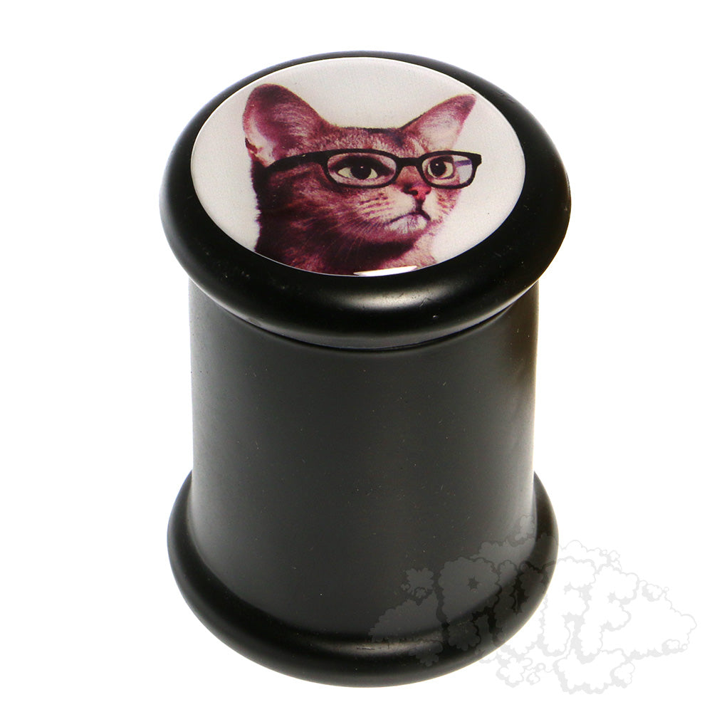 "3"" Glass Pop-Top Jars cat with glasses"
