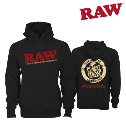 Raw Hoodie front and back black color