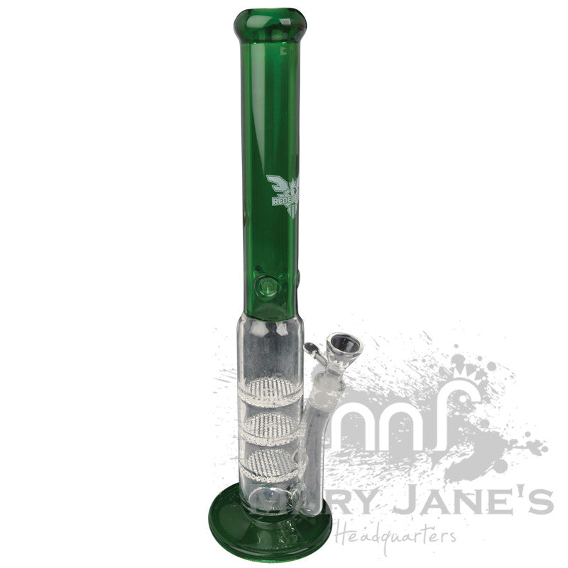 "Red Eye Tek 20"" Tall 7mm Thick Oil Can Bong w/ 3 Honeycomb Percs - Green"