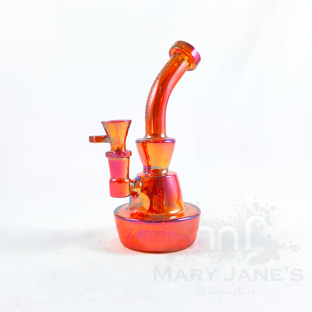 "Red Eye Tek 8"" Tall Terminator Finish Bubbler Dab Rig w/ Direct Inject Perc - redwine metallic"