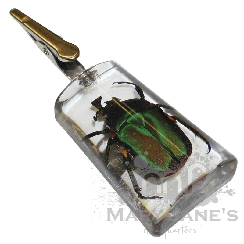 Clear Bug Roach Clips - Emerald Rose Chafer