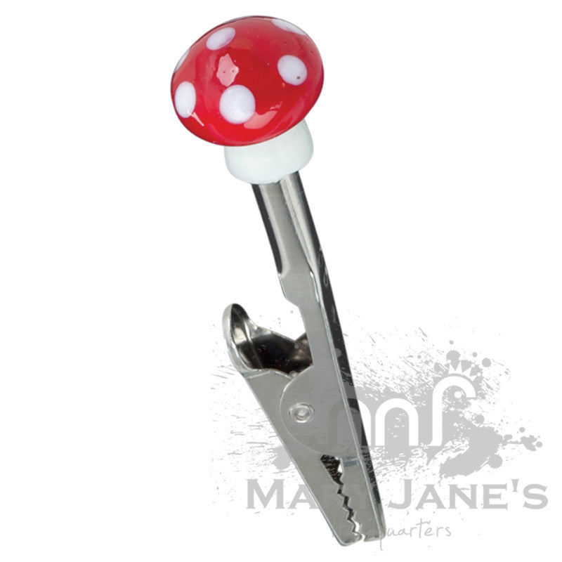 Glass Mushroom Roach Clips - Red