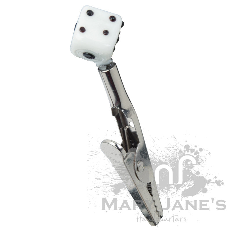 Glass Dice Roach Clip - Mary Jane's Headquarters