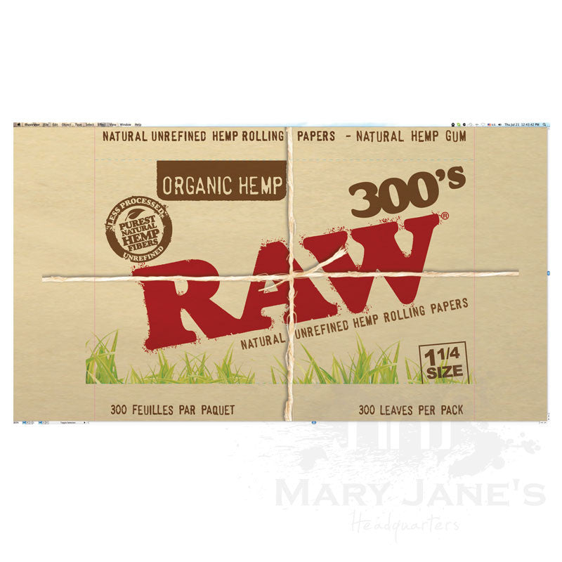 "Raw Organic Rolling Papers - 1-1/4"" 300 Pack"