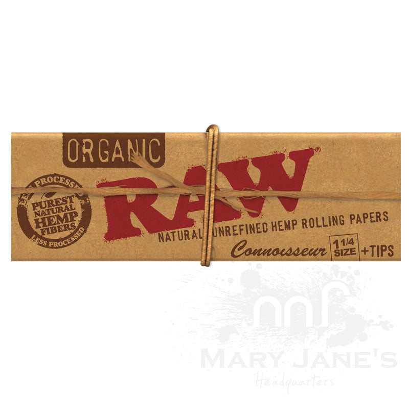 "Raw Organic Rolling Papers - Connoisseur 1-1/4"" With Tips"
