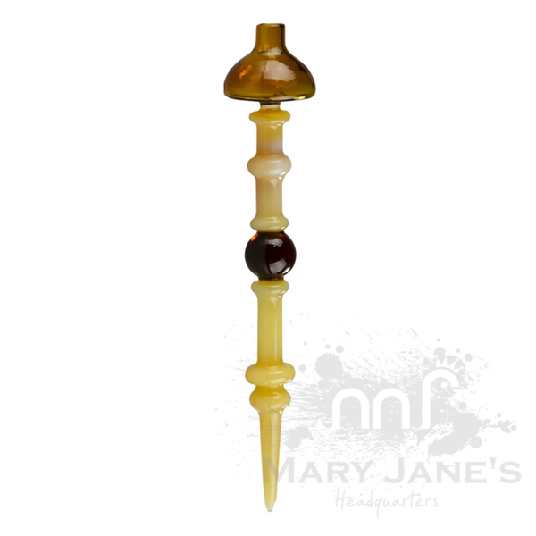 Gear Premium Blocked Bubble Carb Cap & Dabber-Amber
