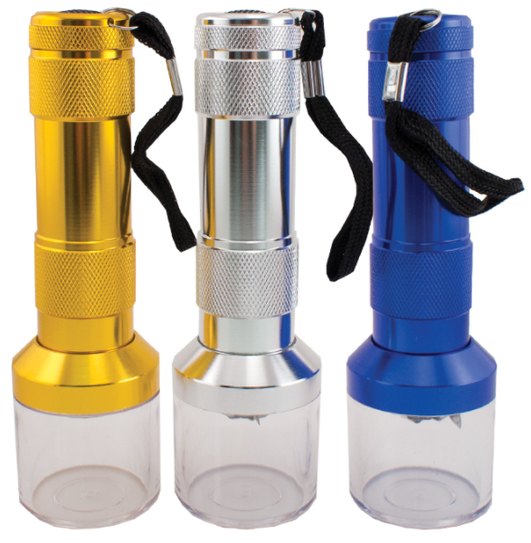 BUDDIES­­ ELECTRIC ALUMINUM GRINDERS W/ FLASHLIGHT