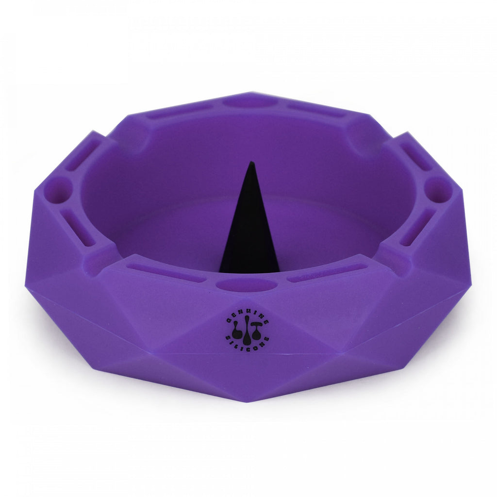 "Lit Silicone 5"" Round Ashtray w/ Debowler purple"