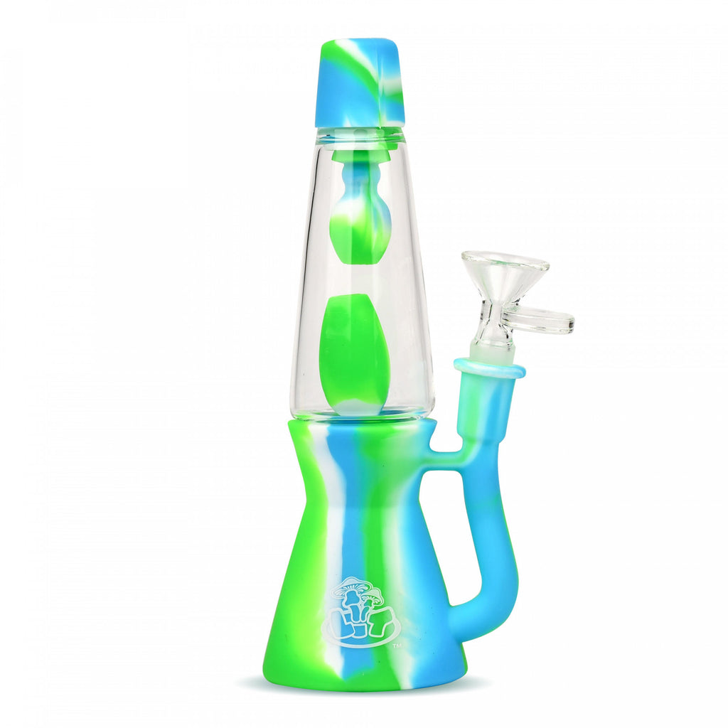 "LIT™ Silicone 8.25"" Lava Lamp Bong blue green white"