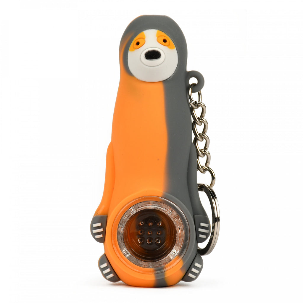 LIT Silicone Sloth Hand Pipe W/Glass Bowl & Keychain