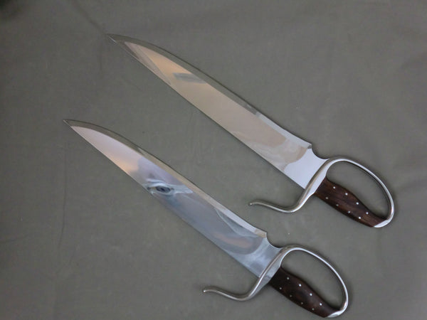 "13"" Compound Grind Recurve Stabber Butterfly Swords Böhler D-2 Blade Steel (Instructor Grade)"
