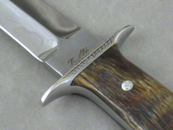Loveless Style Big Dixon Fighter (Böhler D2, Markhore Horn, Engraved Hilt)