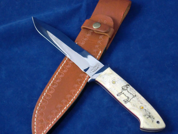 Loveless Style Dixon Fighter Variation (Böhler 440C, Camel Bone, Bird & Goat Motif)