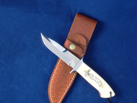 Loveless Style Chute Knife Second (Böhler 440C, Camel Bone, Nude Motif)
