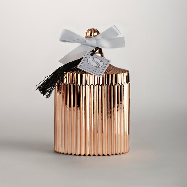 Rose Gold Ridged Vintage Candle