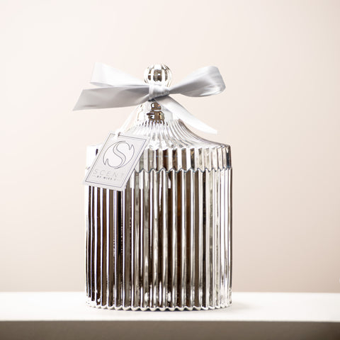 Silver Ridged Vintage Candle
