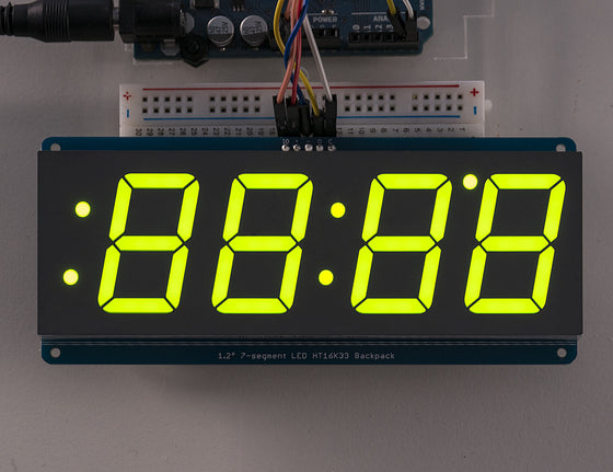 "Adafruit 1.2"" 4-Digit 7-Segment Display w/I2C Backpack - Green - Chicago Electronic Distributors  - 1"