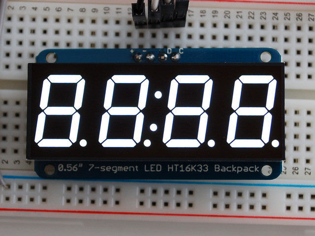 "Adafruit 0.56"" 4-Digit 7-Segment Display w/I2C Backpack - White - Chicago Electronic Distributors"