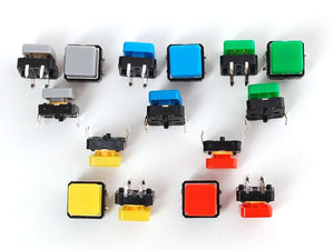 Colorful Square Tactile Button Switch Assortment - 15 pack - Chicago Electronic Distributors