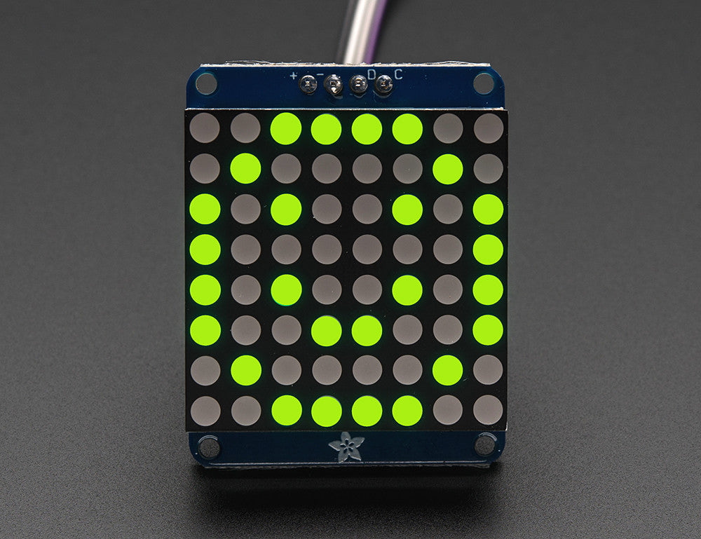 "Adafruit Small 1.2"" 8x8 LED Matrix w/I2C Backpack - Red or Green - Chicago Electronic Distributors  - 2"
