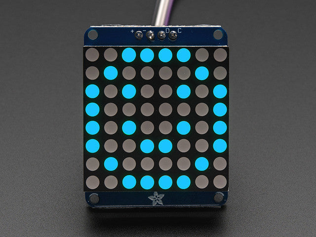 "Adafruit Small 1.2"" 8x8 LED Matrix w/I2C Backpack - Blue - Chicago Electronic Distributors"