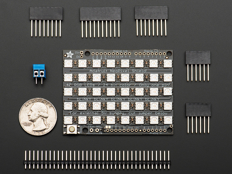 Adafruit NeoPixel Shield for Arduino - 40 RGB LED Pixel Matrix - Chicago Electronic Distributors  - 2