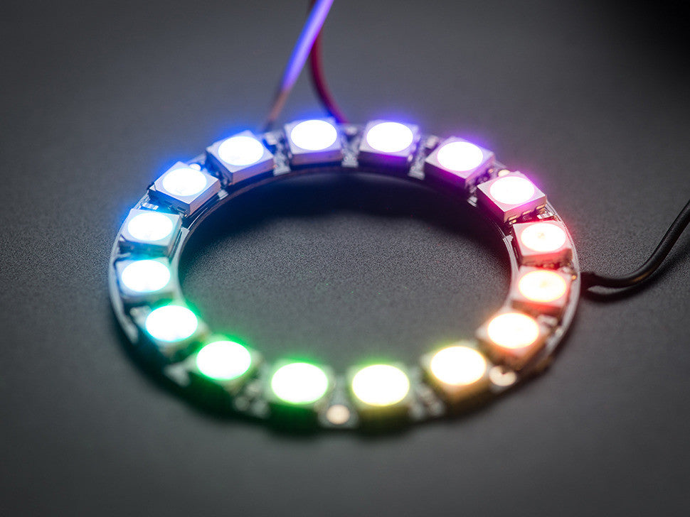 NeoPixel Ring - 16 x WS2812 5050 RGB LED with Integrated Drivers - Chicago Electronic Distributors  - 2