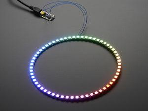 Neopixel 1/4 60 Ring - WS2812 5050 RGB LED with Integrated Drivers - Chicago Electronic Distributors  - 1