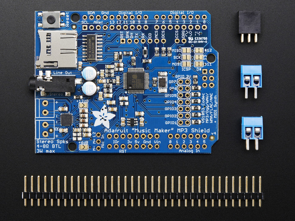 "Adafruit ""Music Maker"" MP3 Shield for Arduino w/3W Stereo Amp - Chicago Electronic Distributors  - 2"