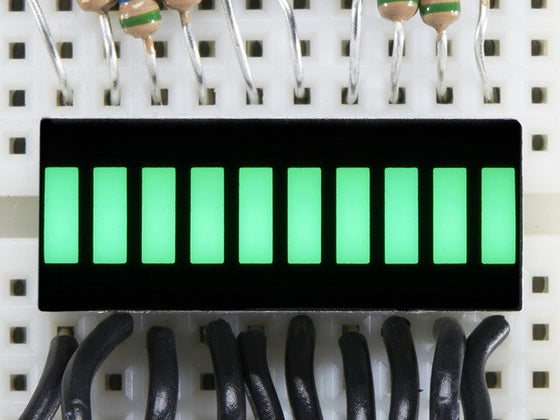 10 Segment Light Bar Graph LED Display - Pure Green - Chicago Electronic Distributors