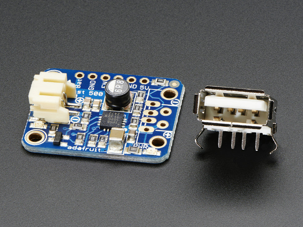 PowerBoost 500 Basic - 5V USB Boost @ 500mA from 1.8V+ - Chicago Electronic Distributors  - 1