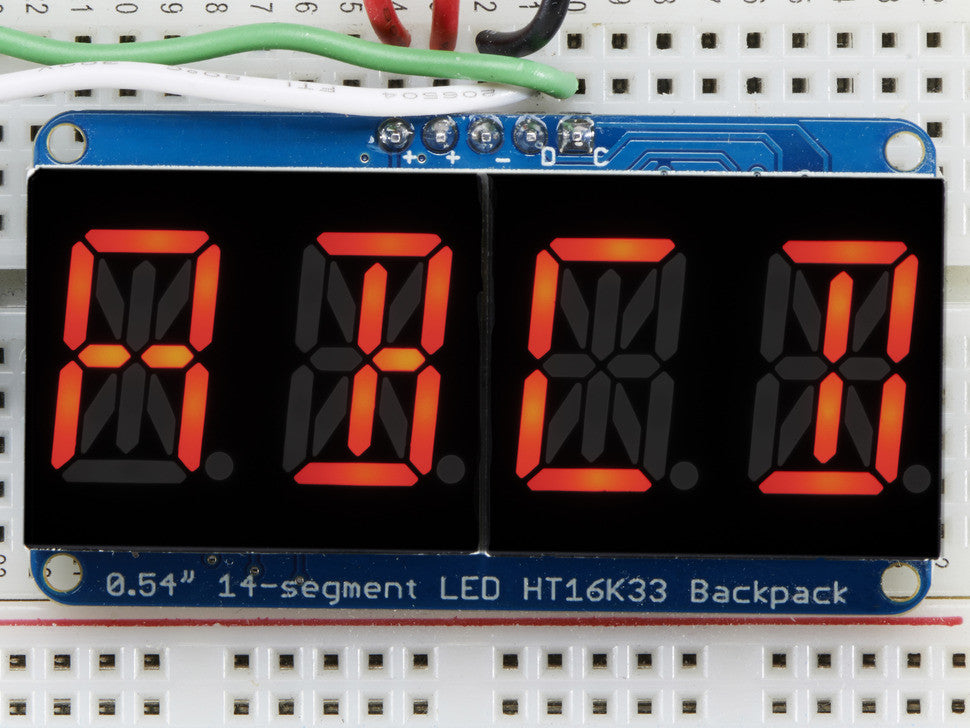 "Quad Alphanumeric Display - Red 0.54"" Digits w/ I2C Backpack - Chicago Electronic Distributors  - 1"