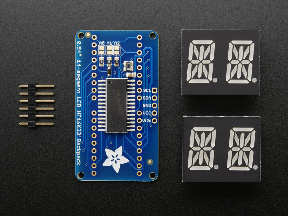 "Quad Alphanumeric Display - Blue 0.54"" Digits w/ I2C Backpack - Chicago Electronic Distributors  - 6"