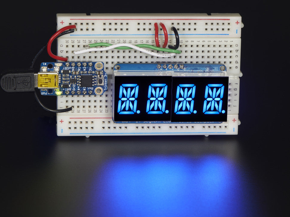 "Quad Alphanumeric Display - Blue 0.54"" Digits w/ I2C Backpack - Chicago Electronic Distributors  - 2"