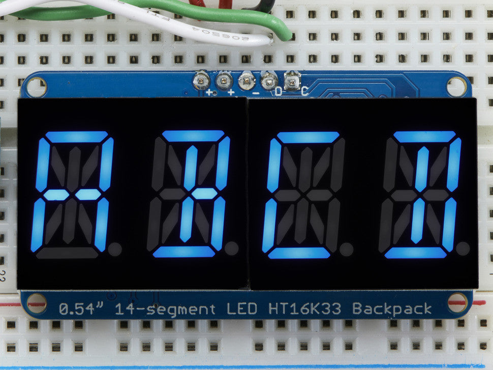 "Quad Alphanumeric Display - Blue 0.54"" Digits w/ I2C Backpack - Chicago Electronic Distributors  - 1"