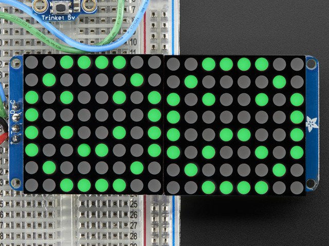 "16x8 1.2"" LED Matrix + Backpack - Ultra Bright Round Green LEDs - Chicago Electronic Distributors"