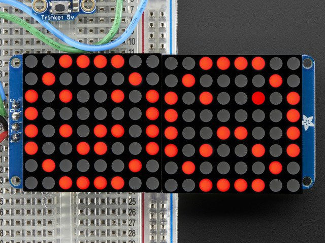 "16x8 1.2"" LED Matrix + Backpack - Ultra Bright Round Red LEDs - Chicago Electronic Distributors"