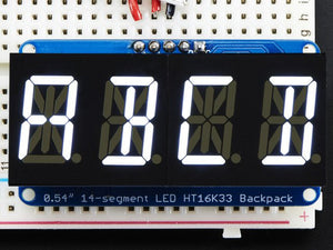 "Quad Alphanumeric Display - White 0.54"" Digits w/ I2C Backpack - Chicago Electronic Distributors"