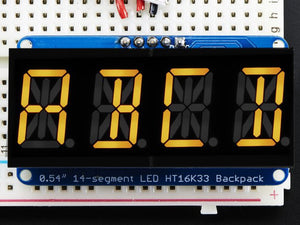 "Quad Alphanumeric Display - Yellow 0.54"" Digits w/ I2C Backpack - Chicago Electronic Distributors"
