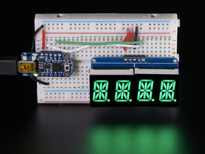 "Quad Alphanumeric Display - Pure Green 0.54"" Digits w/ Backpack - Chicago Electronic Distributors  - 1"